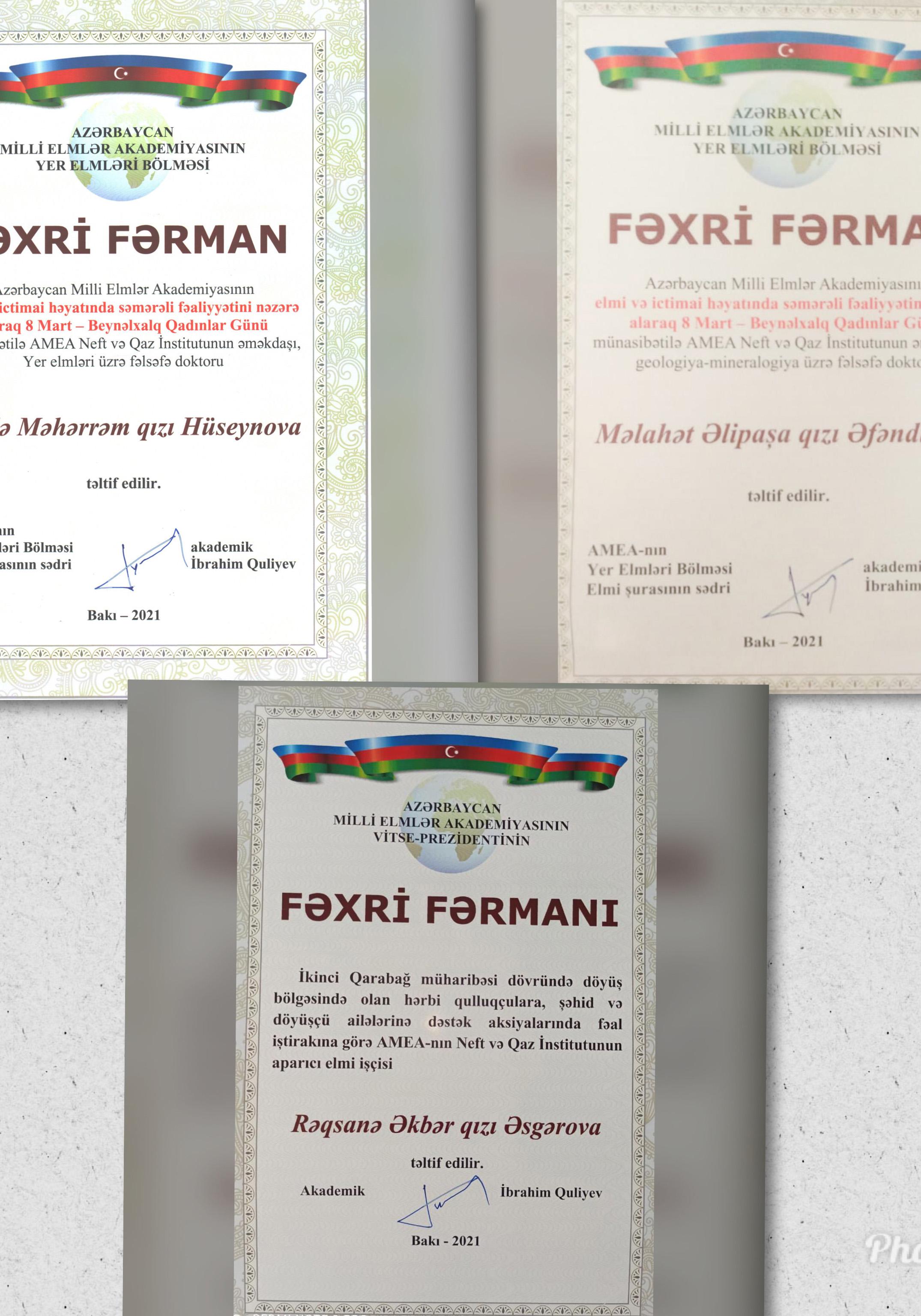 AMEA Neft və Qaz İnstitunun əməkdaşları AMEA Yer elmləri bölməsinin Fəxri Fərmanları ilə təltif olunublar