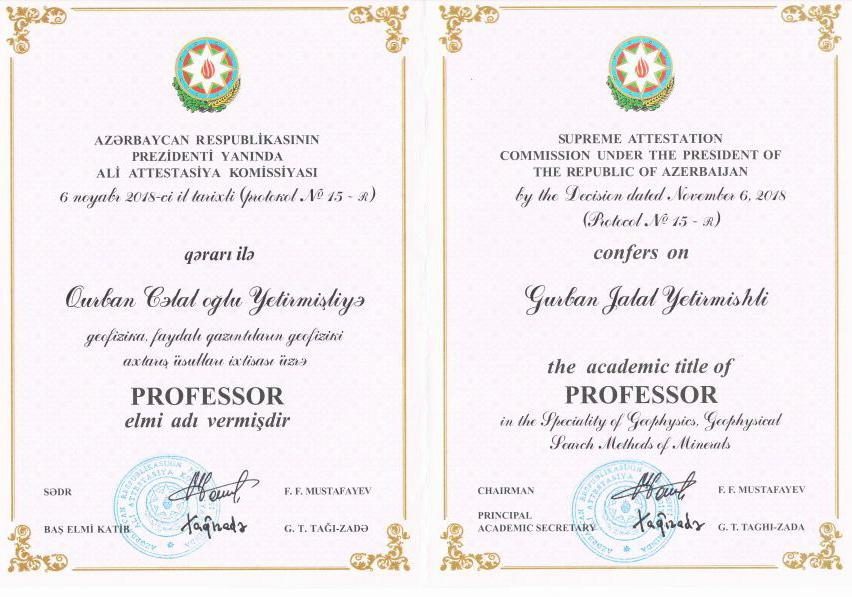"""RSXM-nin baş direktoruna """"professor"""" elmi adının diplomu təqdim edilib"""